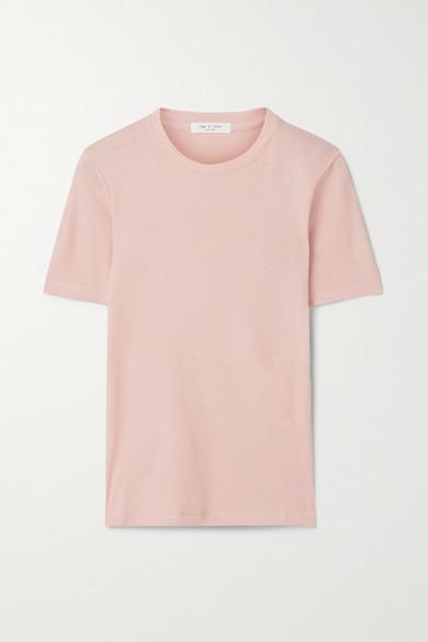 Rag & Bone Ribbed Cotton And Modal-blend T-shirt - Blush