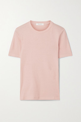 Rag & Bone Ribbed Cotton And Modal-blend T-shirt - Blush