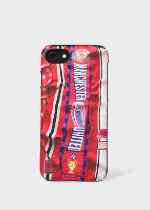 Paul Smith & Manchester United - 'Vintage Scarf' Print Leather iPhone 6/6S/7/8 Case