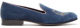 Gucci Lyre-embroidered Velvet Loafers - Mens - Blue