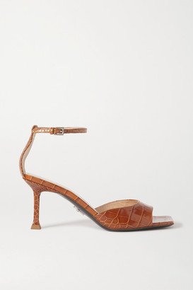 Cesare Paciotti Croc-effect Leather Sandals - Tan