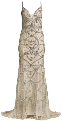 Jovani Beaded Sleeveless Gown