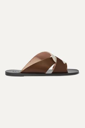 ATP ATELIER Allai Two-tone Leather Slides - Brown