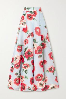 Carolina Herrera Floral-print Silk-organza Wide-leg Pants - Blue