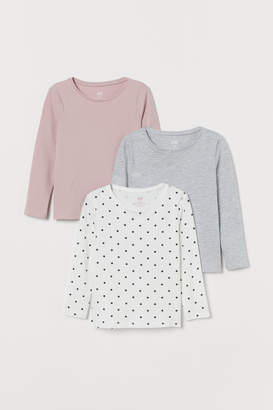 H&M 3-pack Long-sleeved Tops - Pink