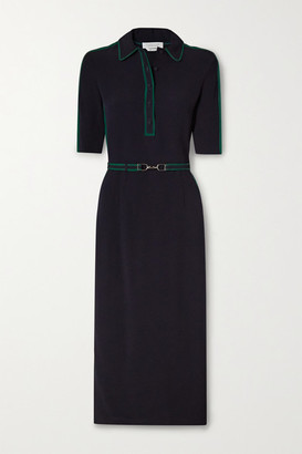 Gabriela Hearst Witley Belted Striped Cady Shirt Dress - Navy