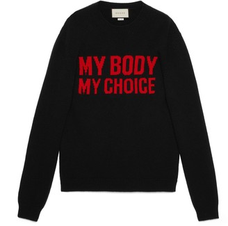 """Gucci Wool sweater with """"My Body My Choice"""""""