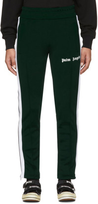 Palm Angels Green and White Slim Lounge Pants