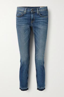 Rag & Bone Dre Capri Cropped Distressed Mid-rise Slim-leg Jeans - Mid denim