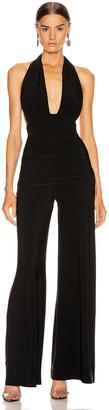 Norma Kamali Halter Bill Jumpsuit in Black | FWRD