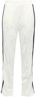 Ganni Egret Floral-print Pique Track Pants