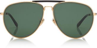 Jimmy Choo FIN Gold and Black Metal Aviator Sunglasses