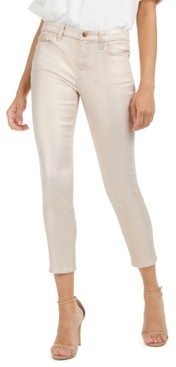 7 For All Mankind Jen7 By Jen7 by Metallic Coated High Rise Ankle Skinny Jeans
