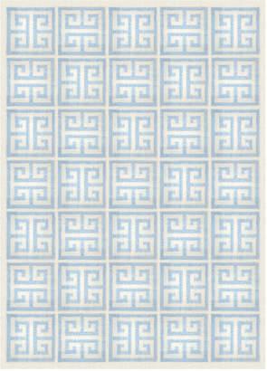 Jonathan Adler Light Blue Greek Key Reversible Peruvian Flat Weave Rug