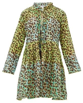 Juliet Dunn Leopard-print Tie-front Cotton Coat Dress - Green Print