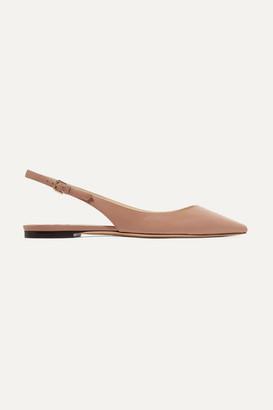 Jimmy Choo Erin Leather Slingback Point-toe Flats - Neutral