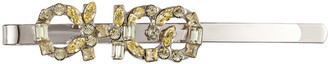 Jimmy Choo YK - CLIP Metal Hair Clip with Neon-Yellow Crystal CHOO Logo