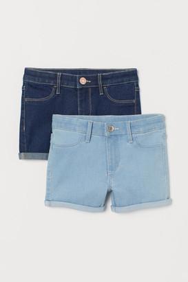H&M 2-pack Denim Shorts - Blue