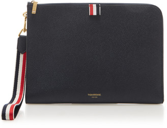 Thom Browne Medium Textured Leather Pouch