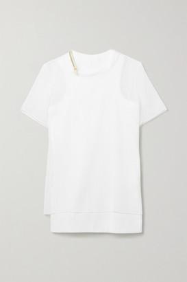Sacai Layered Plisse-chiffon And Ribbed Cotton-blend Jersey Top - White