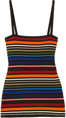 Dolce & Gabbana Striped Ribbed Cotton-blend Top
