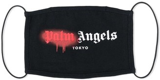 Palm Angels Black And Red Tokyo Sprayed Logo Face Mask