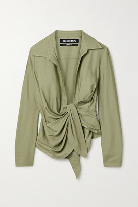 Jacquemus Bahia Tie-front Twill Shirt - Army green