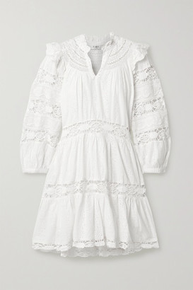 Sea Lea Crochet-trimmed Ruffled Broderie Anglaise Cotton Mini Dress - White