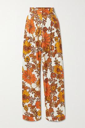 Dodo Bar Or Lana Floral-print Cotton Wide-leg Pants - Orange