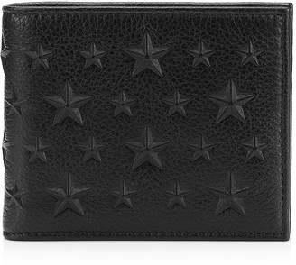 Jimmy Choo MARK Black Grainy Leather Wallet with Embossed Stars