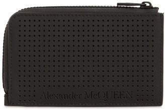 Alexander McQueen Perforated Leather Zip Around Coin Purse