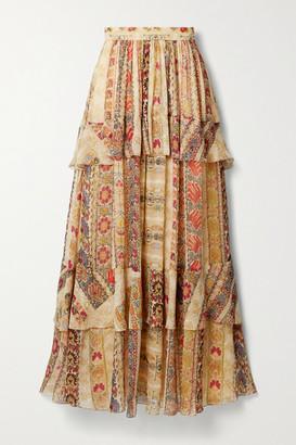 Etro Tiered Floral-print Silk Crepe De Chine Maxi Skirt - Beige