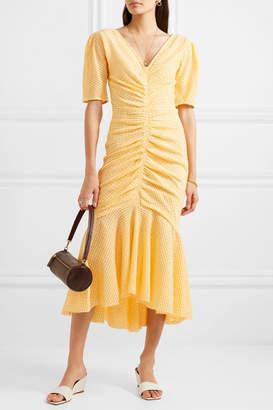 STAUD Panier Asymmetric Ruched Gingham Stretch-seersucker Dress - Yellow