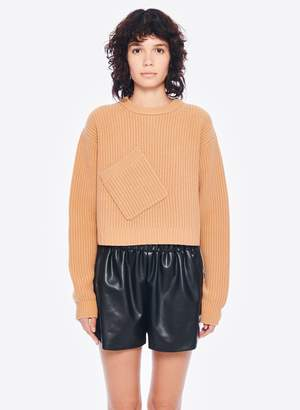 Tibi Faux Leather Pull On Shorts