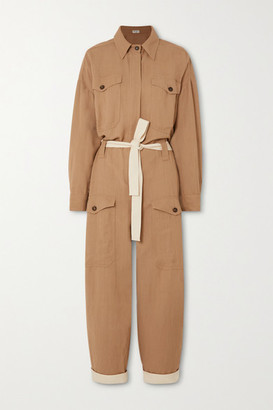 Brunello Cucinelli Space For Giants Belted Twill Jumpsuit - Camel