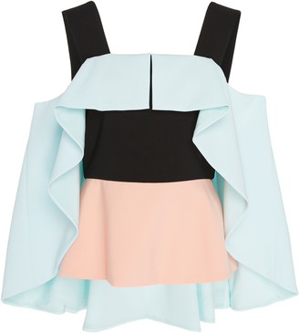 Christian Siriano Cape-Overlay Cold-Shoulder Blouse