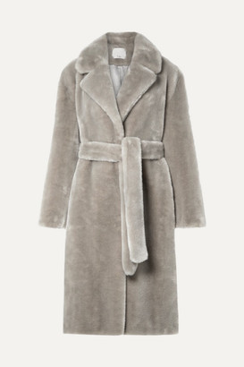 Tibi Oversized Belted Faux Fur Coat - Stone