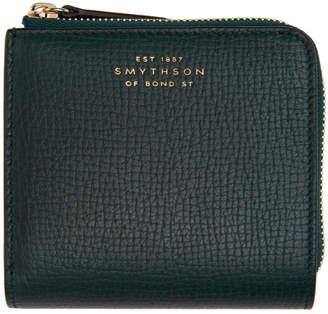 Smythson Green Zip Around Bifold Wallet