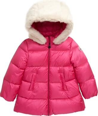 Moncler Caen Down Coat with Faux Fur Hood