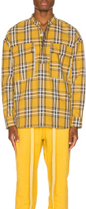 Fear Of God Plaid Pullover Henley in Garden Glove Yellow in Garden Glove Yellow Plaid   FWRD