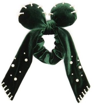 Lafayette House Of Bambou Bow Plush Velvet Scrunchie - Womens - Green
