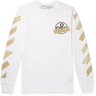 Off-White Off White Slim-Fit Logo-Print Cotton-Jersey T-Shirt