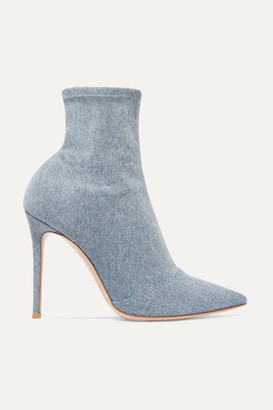 Gianvito Rossi Elite 105 Stretch-denim Sock Boots - Mid denim