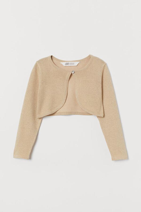 H&M Glittery Bolero Jacket - Beige