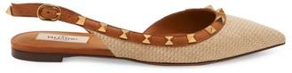 Valentino Rockstud Basket-Weave Slingback Flats