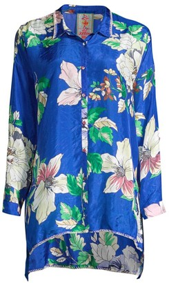 Johnny Was Jaffa Floral-Print Silk Blouse