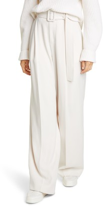 Vince Belted High Waist Wide Leg Trousers