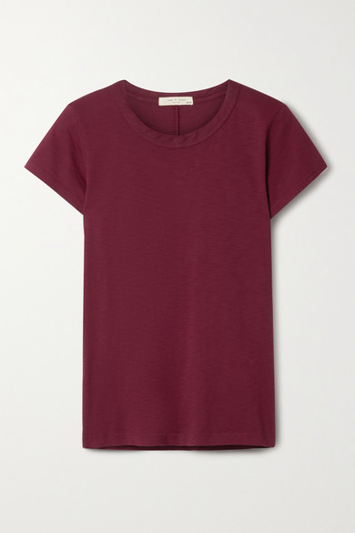 Rag & Bone The Tee Organic Pima Cotton-jersey T-shirt - Burgundy