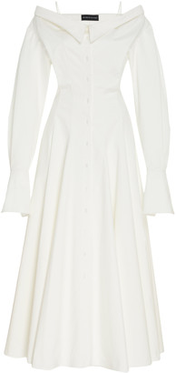 Brandon Maxwell Off-The-Shoulder Cotton Midi Shirt Dress