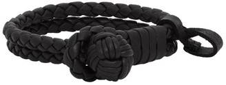 Bottega Veneta Black Woven Leather Bracelet